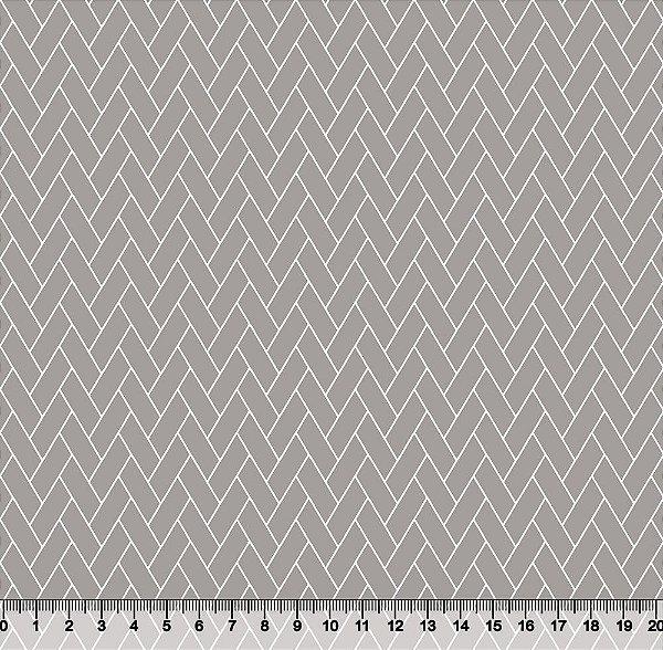 Tecido Tricoline Telha Geométrica Cinza 3818