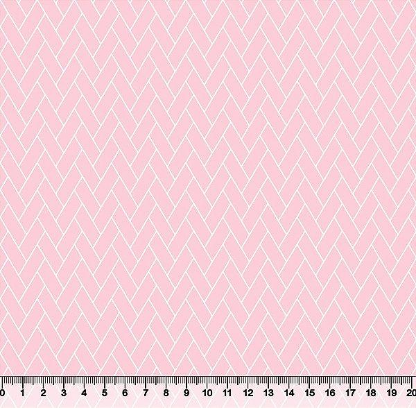 Tecido Tricoline Telha Geométrica Rosa Bebê 3818