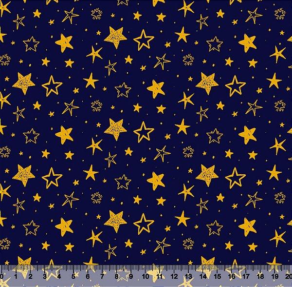 Tecido Tricoline Estrelas Douradas Fundo Marinho 3799-05
