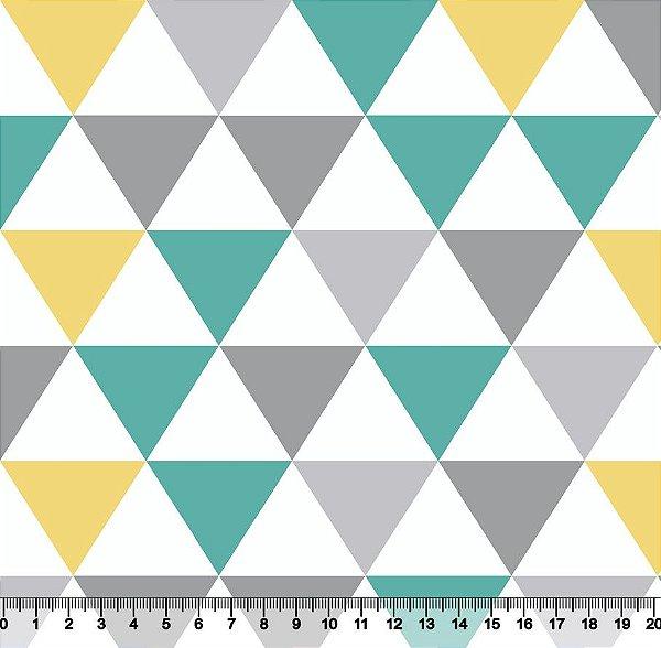 Tecido Tricoline Triângulos Mosaicos Coloridos 3223-07