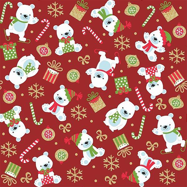 Tecido Tricoline Urso Polar 6167 - Natal