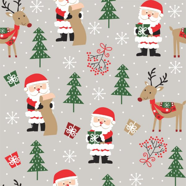 Tecido Tricoline Papai Noel E Rena Cinza 7122-02 - Natal