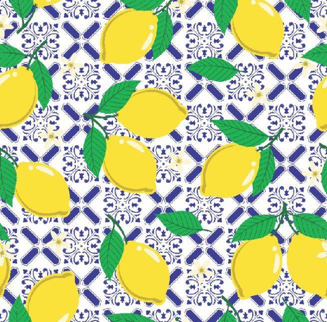 Tecido Tricoline Limões Sicilianos V888-6027-03