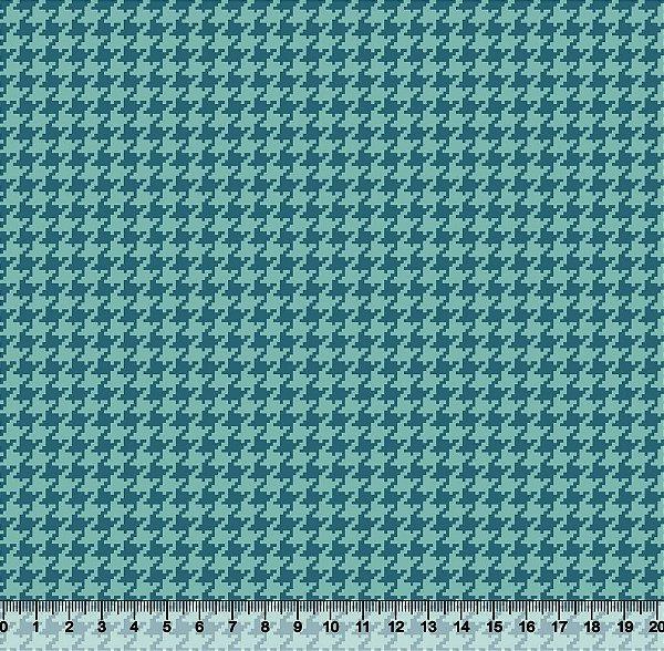 Tecido Tricoline Pied De Poule Azul Com Azul 4025