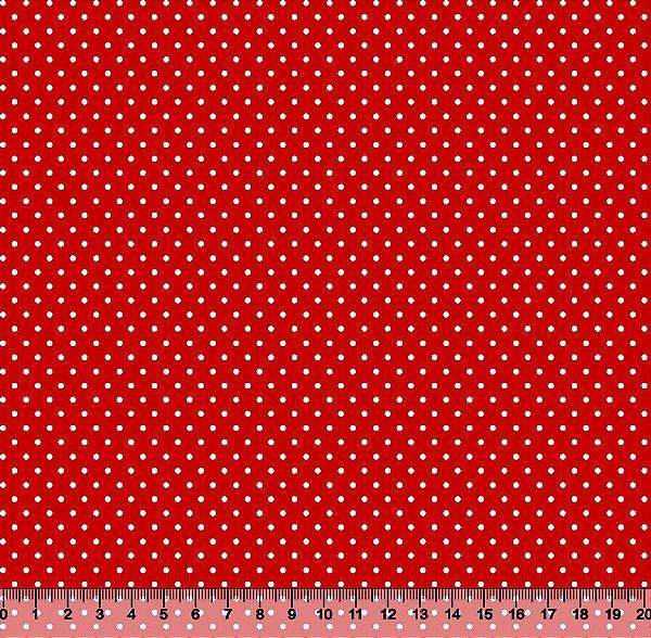 Tecido Tricoline Poá Pequeno Branco com Fundo Vermelho 343PFT