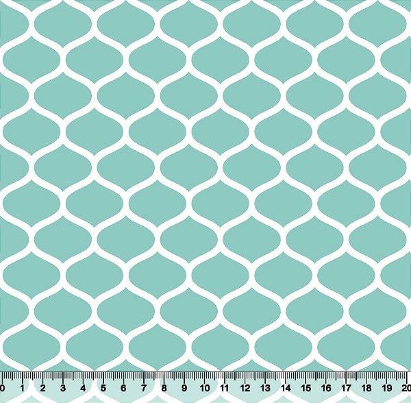 Tecido Tricoline Favos Geométricos Verde-Água 2858-10