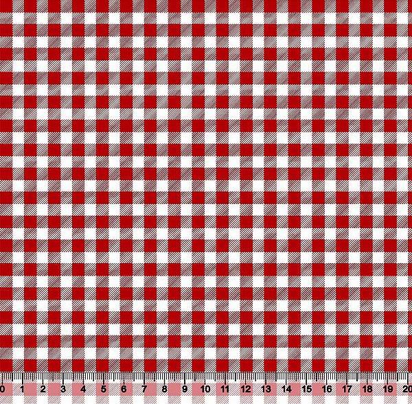 Tecido Tricoline Xadrez Vermelho e Branco Piquenique 3300-26
