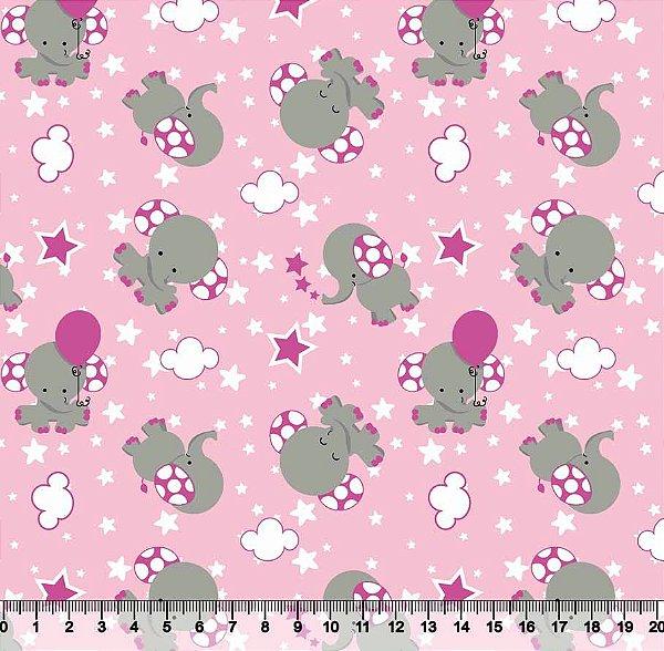 Tecido Tricoline Elefantinho Rosa 3387-05