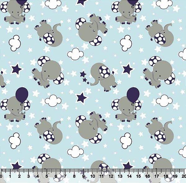 Tecido Tricoline Elefantinho Azul 3387-03