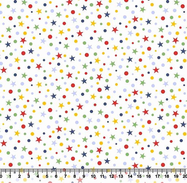 Tecido Tricoline Estrela Aquarela Vermelha Azul Amarela Verde 2421-01