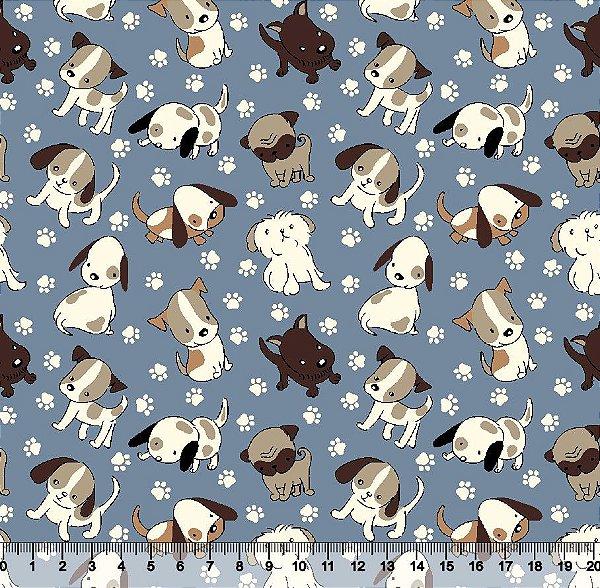 Tecido Tricoline Cachorro Fundo Azul 5350-02