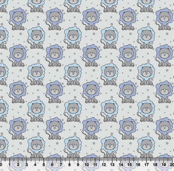 Tecido Tricoline Leão Infantil Azul 5415-02