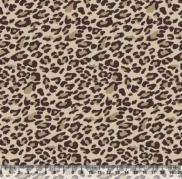 Tecido Tricoline Animal Print Onça Bege 1410-28