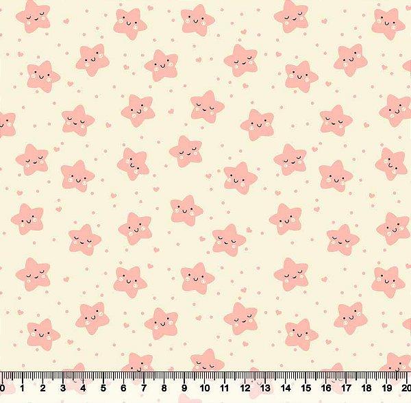 Tecido Tricoline Estrelinha Feliz Rosa 3503-01