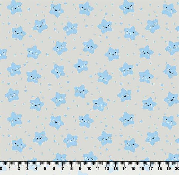 Tecido Tricoline Estrelinha Feliz Azul 3503-02