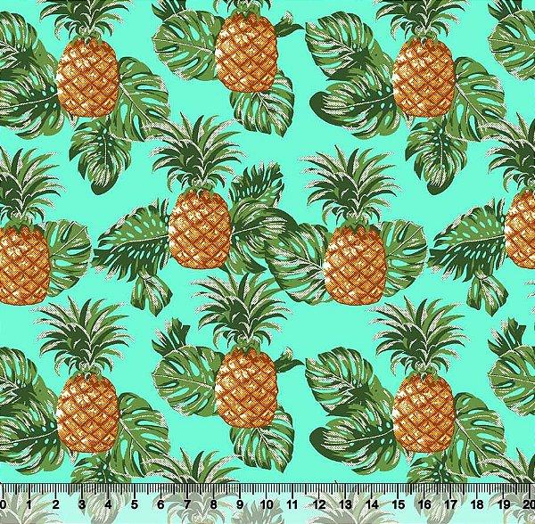 Tecido Tricoline Abacaxi Costela de Adão Fundo Verde-Água 5434-02