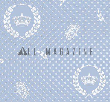 Tecido Tricoline Coroa Real e Poá Brancos com Fundo Azul Bebê 2529--