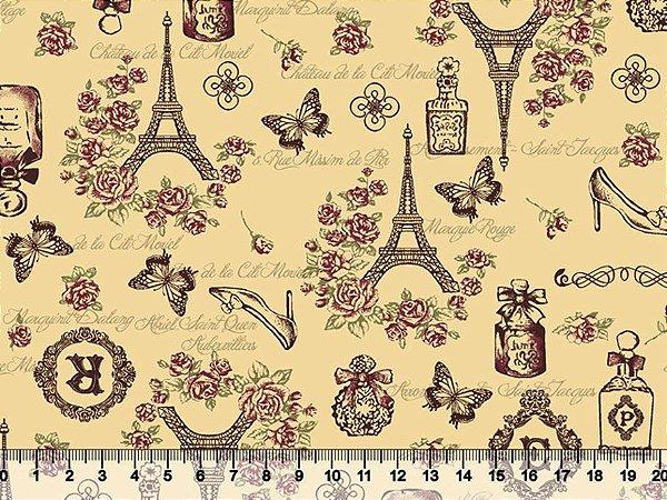 Tecido Tricoline Paris Rosas Torre Eiffel com Fundo Bege 2752-01