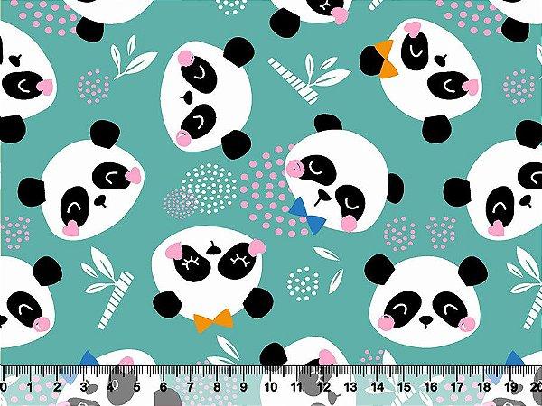 Tecido Tricoline Panda Fofo com Fundo Verde-Água 2783-01