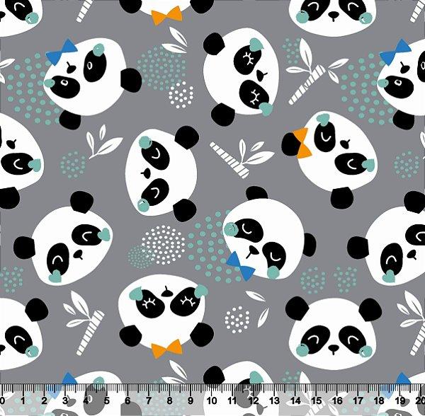 Tecido Tricoline Panda Fofo com Fundo Cinza 2783-06
