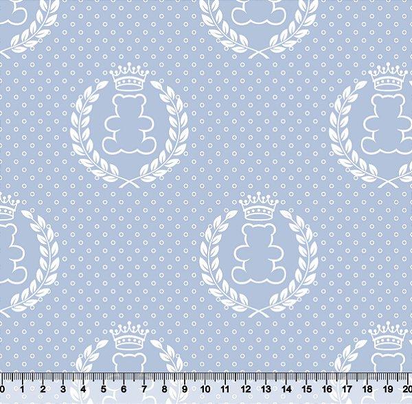 Tecido Tricoline Ursinho Coroa Branca com Fundo Azul Claro 2644-01
