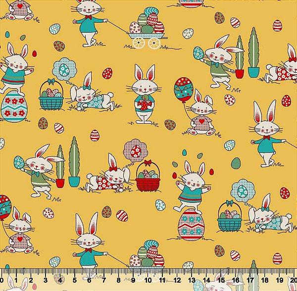 Tecido Tricoline Coelhos Sonhando com Fundo Amarelo 3567-02