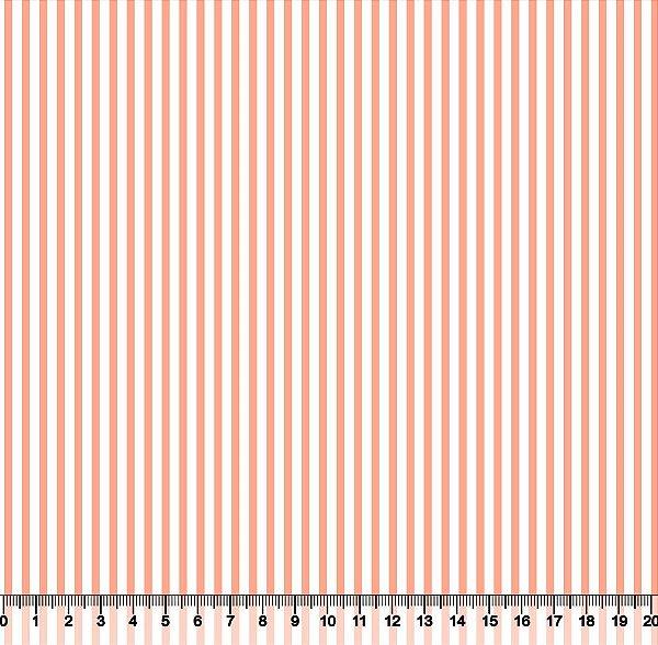 Tecido Tricoline Listrado Salmão e Branco 1382-49