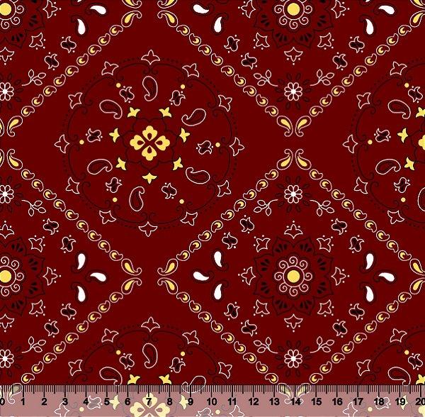 Tecido Tricoline Mandala Vermelho 5000-03