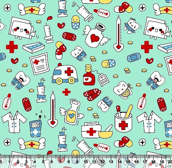 Tecido Tricoline Profissões Médicas Fundo Azul Claro 5446-01