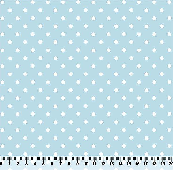 Tecido Tricoline Poá 3BOL Branco com Fundo Azul Bebê 3BOL-03