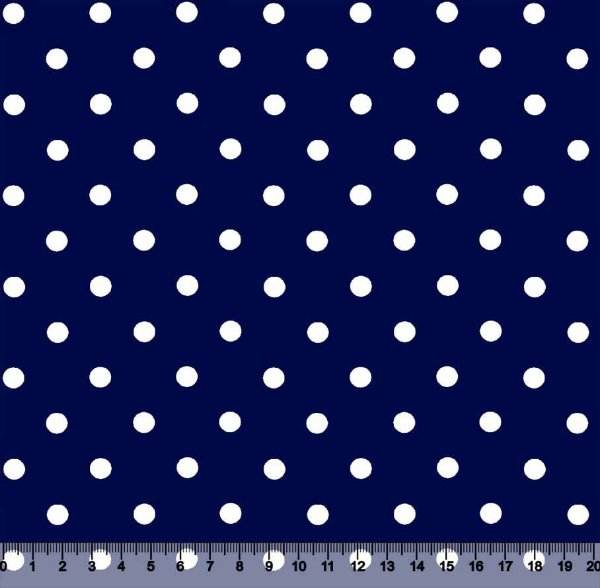 Tecido Tricoline Poá 2BOL Branco com Fundo Azul Marinho 2BOL-23