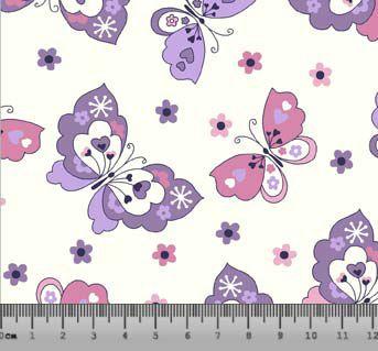 Tecido Tricoline Borboletas Modernas Rosa e Lilás com Fundo Branco 2374-02