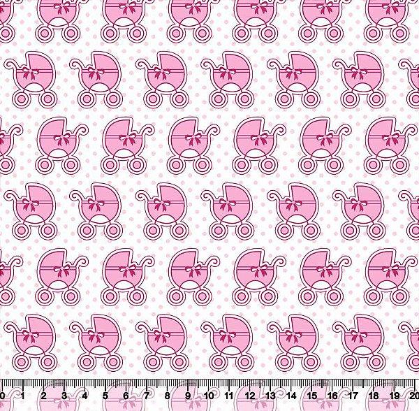 Tecido Tricoline Carrinhos de Bebê Rosa 5386-01