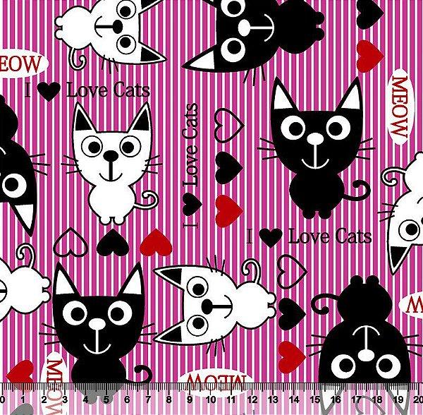 Tecido Tricoline Gato Meow com Fundo Rosa 5095-rosa