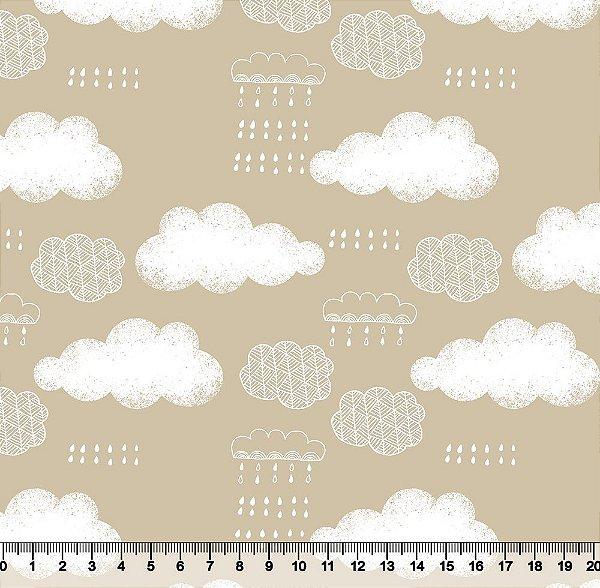 Tecido Tricoline Nuvens e Chuva com Fundo Bege 3677-05