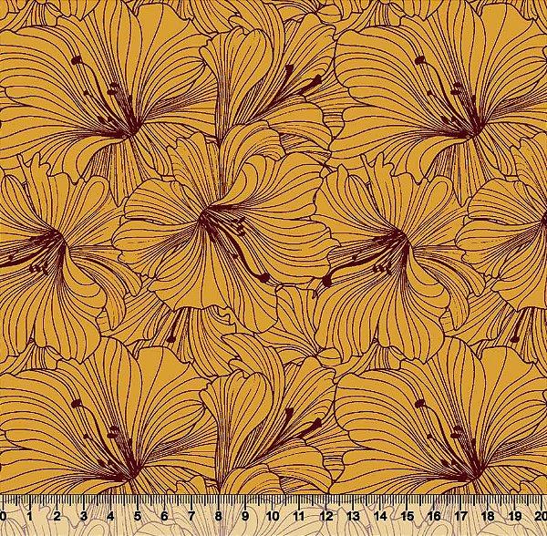 Tecido Tricoline Flor de Hibisco Amarela 3581-11