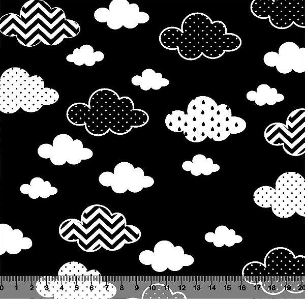 Tecido Tricoline Nuvens Estampadas com Fundo Preto 2867-08