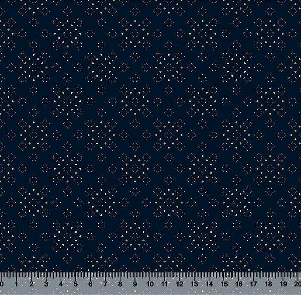 Tecido Tricoline Quadrados Pontilhados Dourados com Fundo Azul Marinho 3973-16