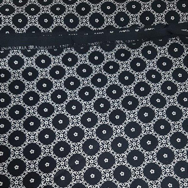 Tecido Tricoline Círculos em Arabesco Brancos com Fundo Preto 6047-fpreto