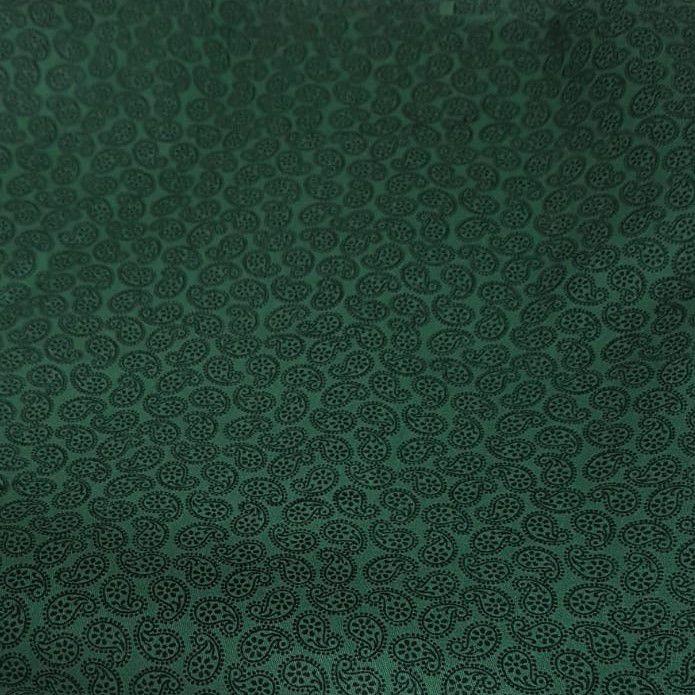 Tecido Tricoline Cachemir Preto com Fundo Verde 6057-preto