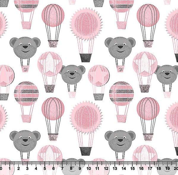 Tecido Tricoline Balão de Urso Rosa Bebê e Cinza 2427-06