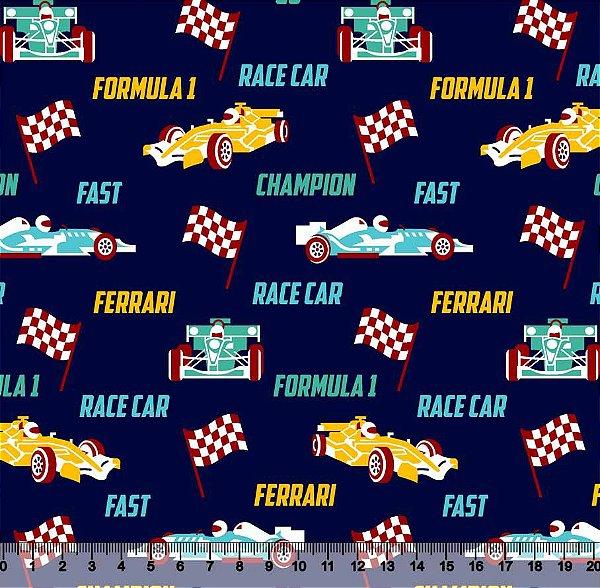 Tecido Tricoline Fórmula 1 com Fundo Azul Marinho 5435-01