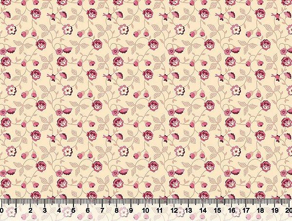 Tecido tricoline mini flores e folhas clássico