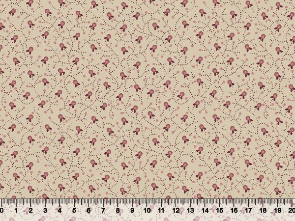 Tecido tricoline mini floral com pontilhado