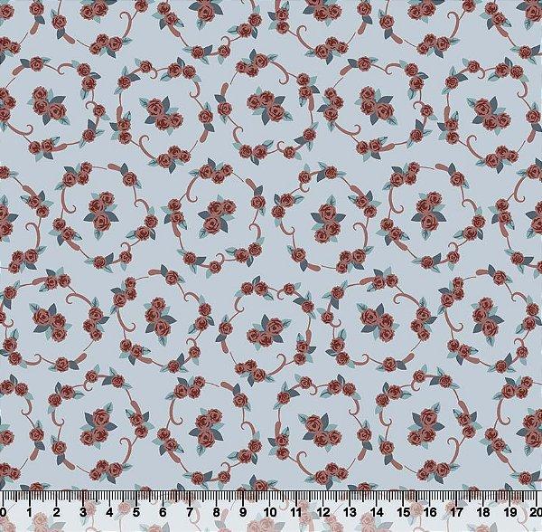 Tecido tricoline molduras de flores