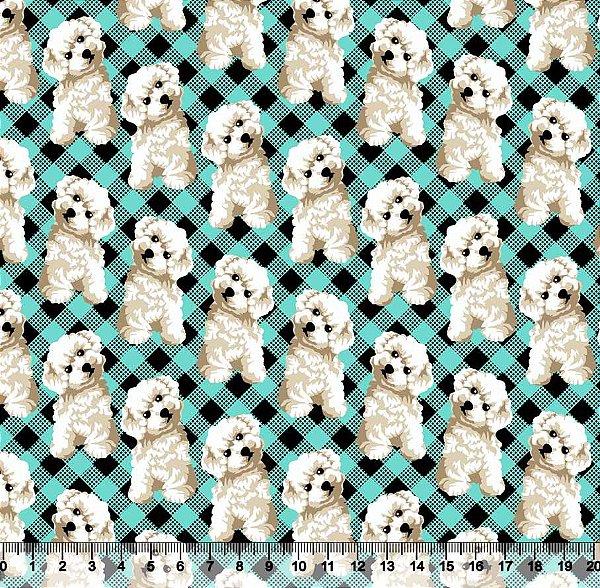 Tecido tricoline cachorro fundo xadrez