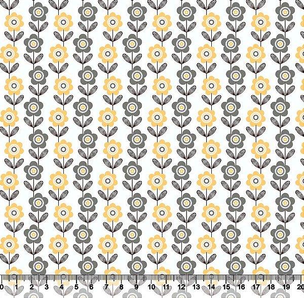 Tecido tricoline listras de flores