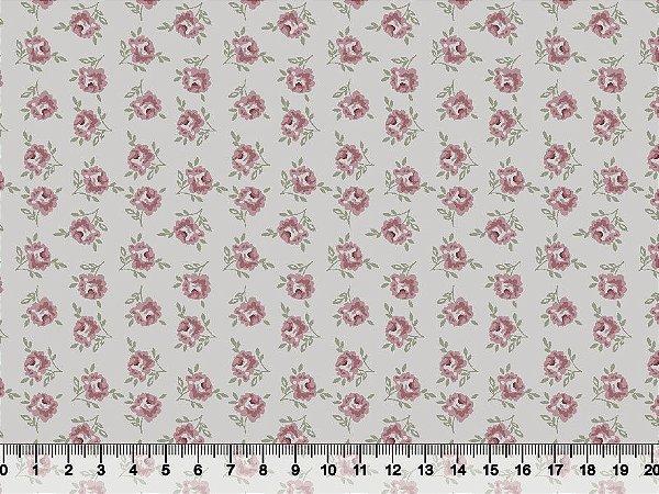 Tecido tricoline floral liberty mini rosas