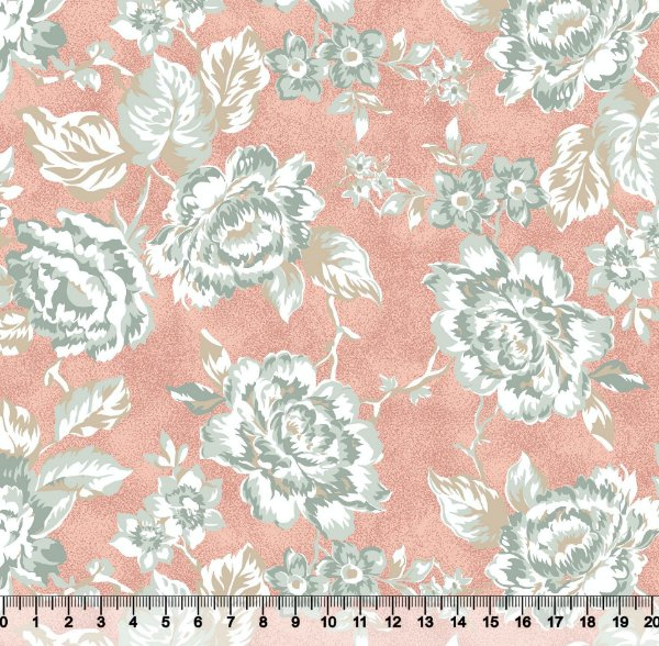 Tecido tricoline maxi floral rosas