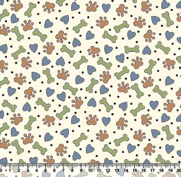 Tecido tricoline patinha de cachorro